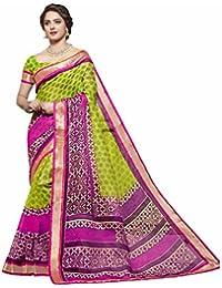 Miraan Women's Linen Saree With Blouse Piece (Srh847_Green)