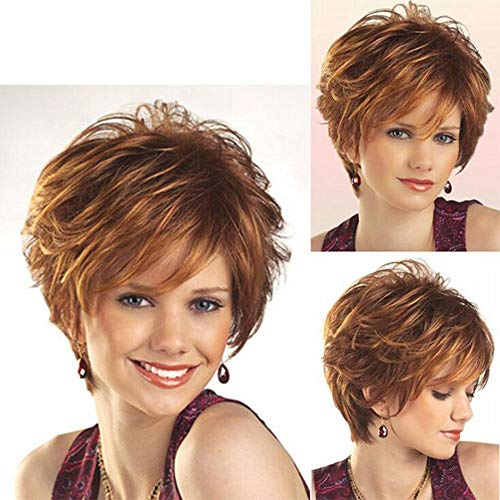 Hair Wigs Women's Party Wig Carnival Halloween Diva Short Curly Brown, 001 ()