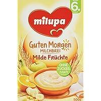 Milupa Guten Morgen Milchbrei Milde Früchte ab dem 6. Monat, 4er Pack (4 x 500 g Packung)
