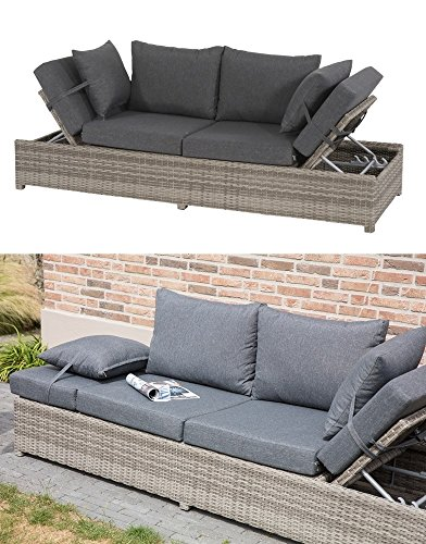 Lesli Living Loungebank Roma Cloud Polyrattan Funktionsliege Gartenliege Gartenbank Loungeliege Rattanoptik grau