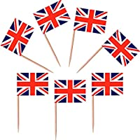 DDG EDMMS British Flag Banner Cocktail Stick - 50 packs - Ideal for party BBQ Queens Memorial
