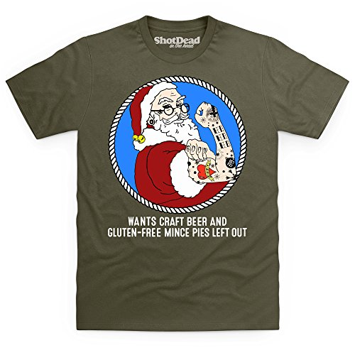 Hipster Santa T-shirt, Uomo Verde oliva