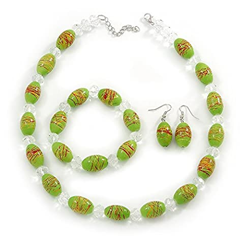 Lime Green Glass 'Grapes' Beaded Necklace, Flex Bracelet And Drop