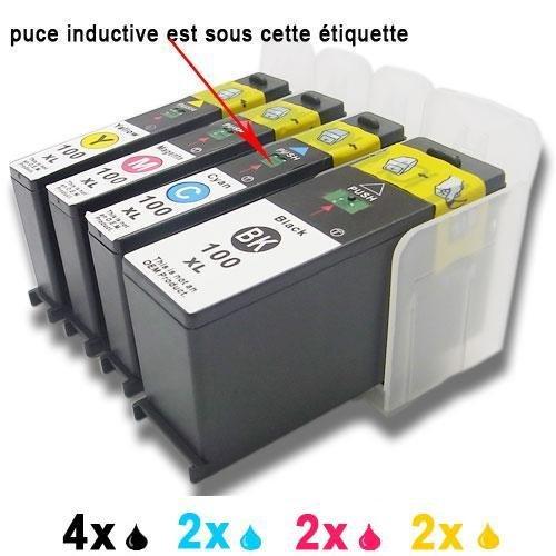 Generisches Kompatible Tintenpatrone als Ersatz für Lexmark 100XL 105XL 108XL (4x Schwarz,2xCyan,2xMagenta,2xGelb,10er-Pack) -