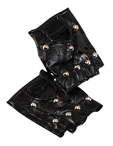 7 Punk Handschuhe mit Bolzen, Unisex- Erwachsene, schwarz, Einheitsgröße ()