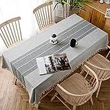 J-MOOSE Tovaglia in Cotone e Lino Anti-Macchia Tovaglia per Tavolo Impermeabile Rettangolare Decorazione Domestica della Cucina (140x180cm, Gray)