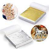 Gold Leaf - WENTS Pan de Oro pan de plata de Imitación para Artes, Artesanía de Dorado, Decoración, DIY, Muebles 9 por 9 cm 200 Hojas