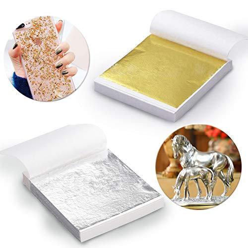 Gold Leaf -WENTS 200 Fogli Imitazione Foglia Oro Foglia Argento per Arte, Artigianato di Doratura, Decorazione, Mobili, 9 da 9 cm