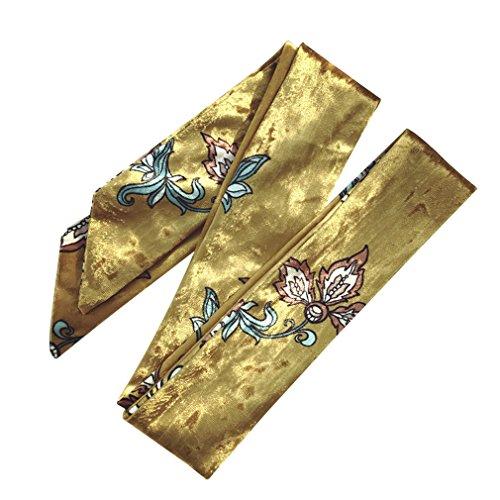 DAMILY Schmaler Schal- Damen Vintage Blumen Druck Skinny Samt Haarschals Stirnband (Goldenes Gelb)