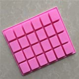 JoyGlobal Silicone 24 Cavity Rectangle Soap Chocolate Jelly Candy Mold (Size of Each Cavity 4 x 3 x 1.3 CM & Output Weight Approx 15-18 Grams Per Cavity)