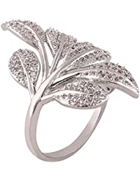 Shaze Silver-Plated Silver Leaf Ring For Women/Girls Rings For Women Stylish | Ring For Girlfriend