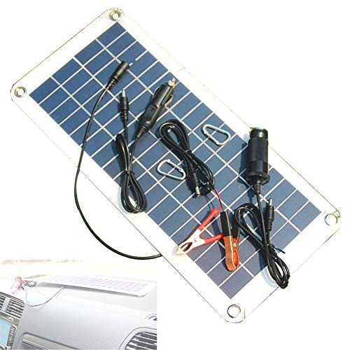 HJJH Solar-Ladegerät Auto, Tragbare Und wasserdichte Solar-Batterie-Wartung, 10,5 W 8 V Solar-Erhaltungsladegerät Für Autobatterien, Kfz-Ladegeräte Und LKW-Kits Boote -