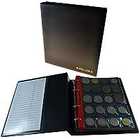 Album pour 200 monnaies (classeur M). 10 feuilles, 200 pièces 35mm x 40mm. Idéal pour les pièces en euros et monnaies jusqu'à 31 mm de diamètre.