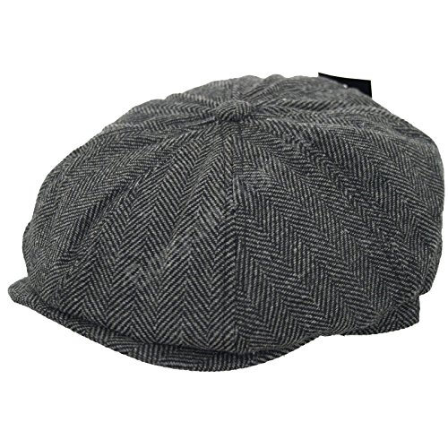 Hut Tweed Newsboy (Männer grau Fischgrat Tweed 8 Panel Gatsby hat Land Newsboy Cap, 59)