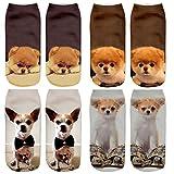 DouTree Mujeres Niñas 3D Loco Divertido Gatos de Dibujos Animados Perros Animales Calcetines (perro-1)