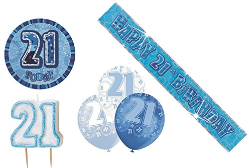 Shatchi 21st Birtday Pack Luftballons Banner Kerze Badge Party Dekoration Blau mehrfarbig