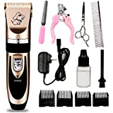 Rechargeable Cordless Low Noise Pet Grooming Clippers - Professional Pet Hair Clippers Detachable Blade with 4 Comb Guides for Small Medium & Large