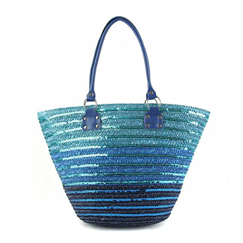 FAIRYSAN Damen-große gestreifte Pailletten-blaue Stroh-Schulter-Taschen-populäre Mode-Ferien-Strand-Tasche (Gestreifte Strandtasche)