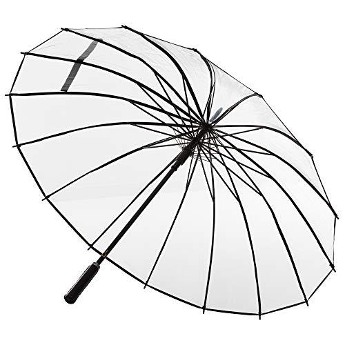 ADRIANO PORCARO® - Automatik Regenschirm für Damen und Herren - transparenter Stockschirm - 16 fache Verstrebung - groß, stabil & windresistent - 105cm Durchmesser