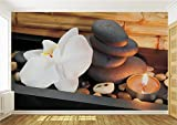 Delester Design Décor mural Papier peint intissé vinyle - Orchidée blanche et pierres de spa pour zen et méditation
