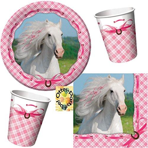 Weißes Pferd Schimmel Partyset 48tlg. Teller Becher Servietten für 16 Kinder