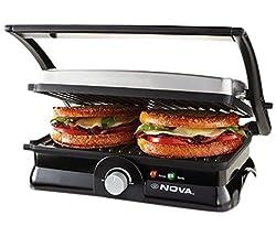 Nova NSG/NGS 2451 2000-Watt 3-in-2 Grill Sandwich Maker (Black/Grey)