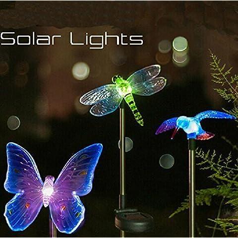 Energía Solar Superdream del colibrí, mariposas y libélulas estaca del jardín con LED que cambia de