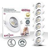 Faretti LED da incasso ultrapiatti orientabili, set di 6, luce calda 3000K, LED integrati 5W, foro incasso Ø68 mm, 460Lm, trasformatore integrato, plastica bianca opaca, luci ultrasottili, 230V, IP23
