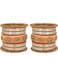 Much More Beautiful Wedding Wear Gold Tone Thread Bangle Set For Women's