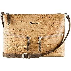 Corkor Travel Cross-Body Bag for Women - Front Pockets - Vegan Light Brown Cork from
