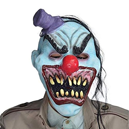 en Teufel Clown Maske mit Haar, Mini Hat, Horror Mund für Erwachsene, Halloween-Kostüm Party Requisiten Masken ()