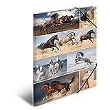 Herma 19217 Sammelmappe DIN A3 Karton, Motiv Pferde, Serie Tiere, Eckspanner, 1 Zeichenmappe, auch für Kinder