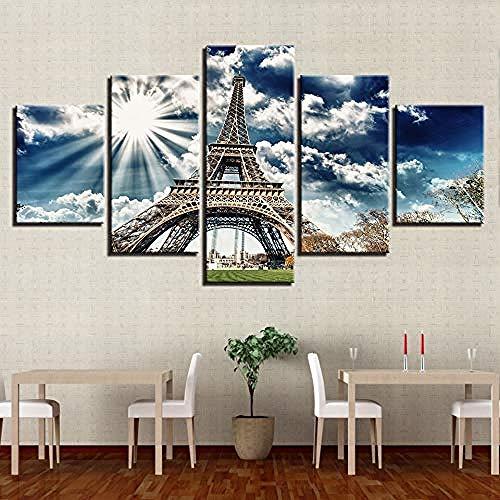 Kuletieas 5 stück Leinwand HD Drucke Zimmer Wandkunst Eiffelturm Blauer Himmel Gemälde Gebäude Landschaft Poster Wohnkultur/Rahmen-200x100cm
