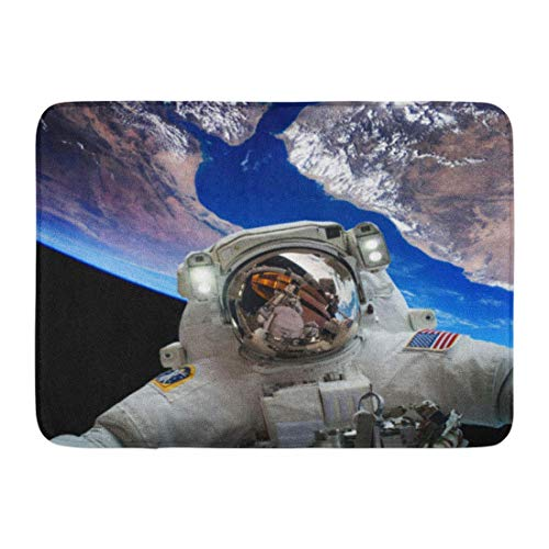 ghkfgkfgk Doormats Bath Rugs Outdoor/Indoor Door Mat Blue Star Astronaut in Outer Space Against The Planet Earth of This Furnished by NASA Technology Bathroom Decor Rug 23.6 x 15.7 Inch