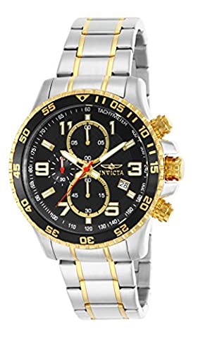 Invicta Men's Quartz Watch with Black Dial Chronograph Display and Two Tone Stainless Steel Bracelet 14876