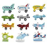 Lot de 12 mini avions en bois en forme d'hélicoptères en bois faits à la main pour bébés et enfants