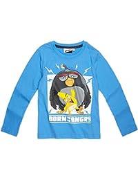 T-shirt manches longues garçon Angry birds Bleu de 6 à 12ans