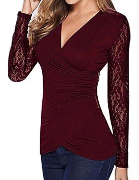 QinMM Blusa de encaje de mujer, Cuello en V manga larga Camisa asimétrica camiseta