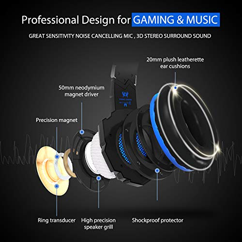 Gaming Headset, LED 3 5mm Stereo Gaming LED Lighting Over-Ear Headphone  Headset with Mic and Noise Cancelling&Volume Control for PC Computer