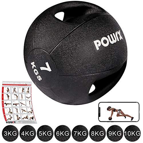 POWRX - Balón Medicinal Asas 7 kg + PDF Workout Negro
