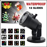 Christmas Projector Lights,LED Projector Lights,Yocuby 12 Replaceable Slides IP65 Waterproof Landscape Motion Snowflakes Spotlight Lamp for Christmas Decoration Outdoor Garden, Yard, Wall Decor Xmas