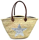 FISH IN THE SEA Korbtasche Strandtasche Stern Silber Boho Ibiza Lederhenkel Star Paillette