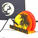 '3d pop up tarjeta de felicitación 'Surfer Sunset Beach Viaje Surf Trip de cupones, regalo, cupones, tarjeta a mano, tarjetas de cumpleaños, tabla de surf tarjeta de regalo