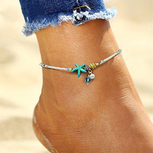Gluckliy Frauen Fußschmuck Barfuß Blau Seestern Strand Fußkette Knöchel Armband