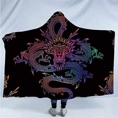 Dragon totem coperta con cappuccio per adulti colorato cinese stampato in pile indossabile coperta coperta in microfibra tv coperta doppia peluche più spessa 150 * 200 cm