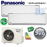 DUO Split klima gerät ETHEREA PANASONIC Klimaanlage 2,5+2,5 KW A+++