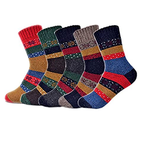 Esenfa Winter Thick Warm Knit Cashmere Wool Boot Socks For Women 5 Colors Pack (D)