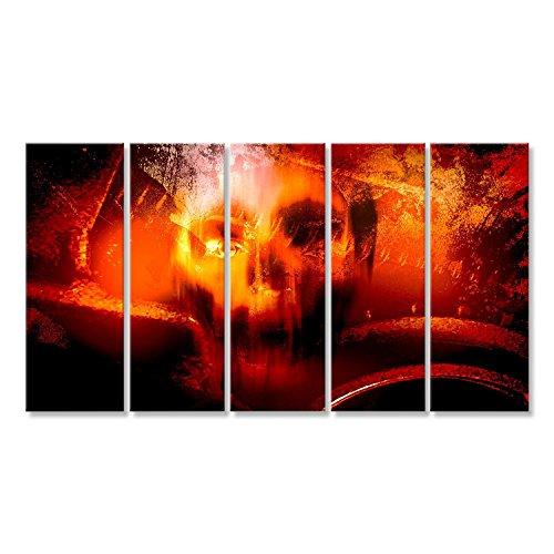 islandburner Bild Bilder auf Leinwand Horror-Schädel, Horror- für Halloween Wie Film Plakat Wandbild Leinwandbild Poster