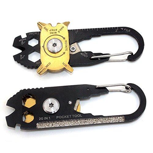 Preisvergleich Produktbild Sonnenflecken 20in 1Edelstahl Schraubendreher Schlüssel Öffner Schlüsselanhänger EDC Tasche Multi Werkzeug Multi Werkzeuge --- 2