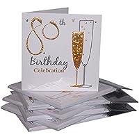 Einladungskarten Zum 80. Geburtstag, Sektgläser Design, 36 Karten Mit  Umschlägen